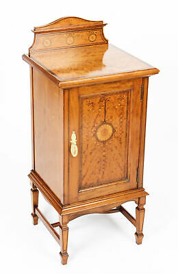 Antique Victorian Satinwood & Inlaid Bedside Cabinet c.1880 19th Century