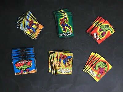 MARVEL COMICS HULK & SPIDERMAN VINTAGE LOT OF 50 IRON ON PATCHES FROM 1980's