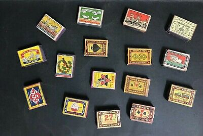 MATCHES, MATCHBOX VINTAGE LOT OF 16 WOODEN BOXES FROM 1950's