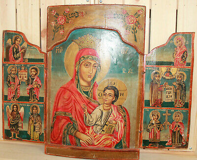 Vintage religious hand painted icon triptych Jesus Christ Child Virgin Mary