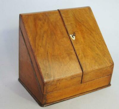 FINE ANTIQUE WALNUT STATIONARY WRITING BOX CABINET with LOCK & KEY & DRAWER desk