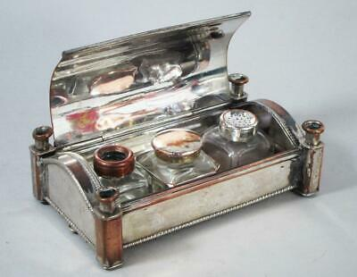 GEORGE II ANTIQUE SHEFFIELD SILVER PLATED CANDLESTICK INKWELL 1750 pen ink stand
