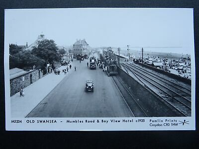 Wales OLD SWANSEA Mumbles Road & BAY VIEW HOTEL 1925 RP Postcard by Pamlin M3234