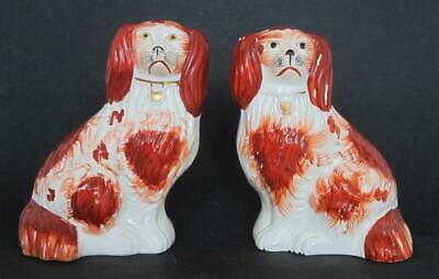 Fine Pr Antique Red & White Staffordshire Pottery Spaniel Dogs Dog Figures 1850