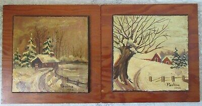 2 Old Vintage Quebec Oil on Board Paintings Pauline Duval 1958 Winter Cottage