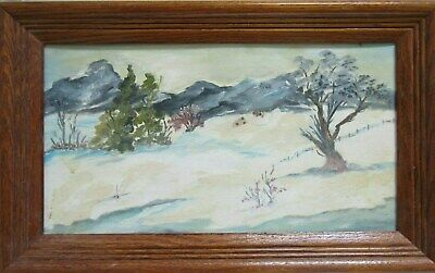 Old Vintage Oil Painting on Board Winter Landscape Trees Mountains Signed