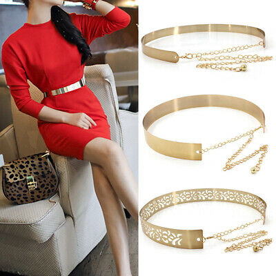 Women Hot Full Metal Waist Mirror Wide Plate Chains Waistband Metallic Belt