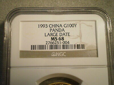 1993 1 Oz. .999 GOLD CHINESE PANDA MS68 NGC/ LARGE DATE/ SMALL REVERSE RED SPOT