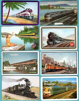 2 Single VINTAGE swap//playing cards TRANSPORT RAILROAD STEAM TRAIN T30