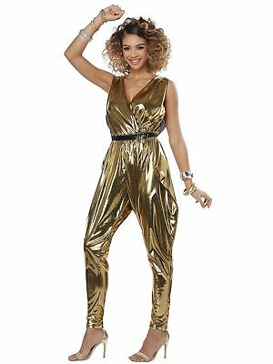 70s Glitz N Glamour 1970s Disco Queen Gold Jumpsuit Adult Womens Costume