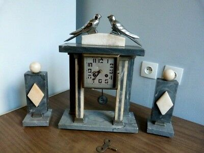 Pendule Portique Horloge Garniture De Cheminee  Art Deco