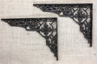 """2 old Shelf support brackets 5 X 7"""" vintage rustic iron 1880's octagon CHIP"""