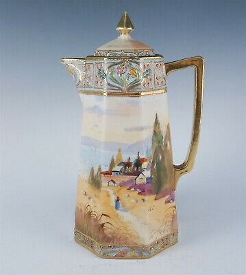 Antique Jeweled Moriage Hand Painted Nippon Landscape Chocolate Pot