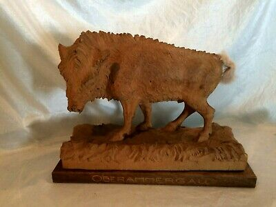 Vintage Swiss Black Forest Carving of Wild BOAR Oberammergau Base Replaced Tail