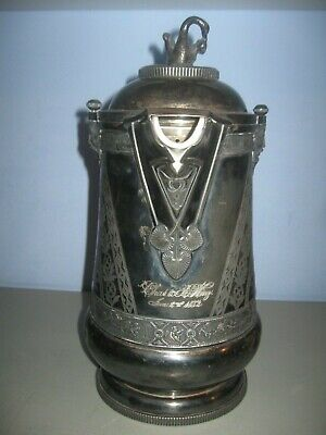 Antique Silver Insulated Pitcher Porcelain Lined PAT 1868