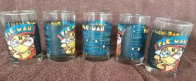 Lot of 5 Vintage Old Pac Man 1980 Arby's 1980 Video Game Drinking Glasses