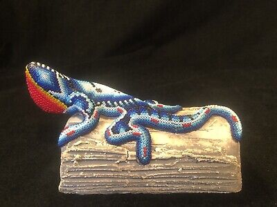 Vtg Huichol Mexican Folk Art Beaded Ceramic Iguana Lizard on Log Figurine