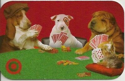 Target Bullseye the Dog Dogs Playing Poker Flocked 2005 Gift Card 0-790-01-0539