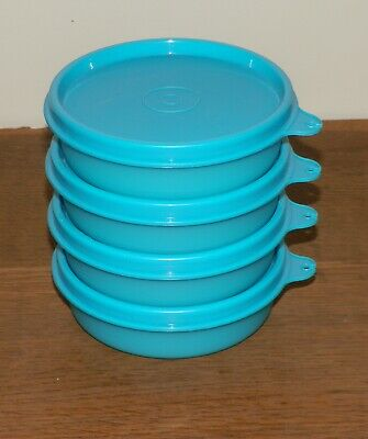 Tupperware 4 LITTLE WONDERS BOWLS 6 oz TEAL Snacks CONTAINERS Fruit