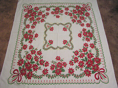 Vtg Christmas Holiday Tablecloth Poinsettia Bouquets Red Ribbon Holly