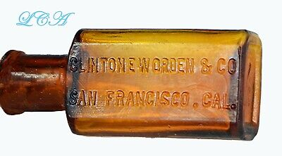Tiny COLORED antique SAN FRANCISCO Pharmacy WORDEN CO Drug Store bottle 1/2 oz