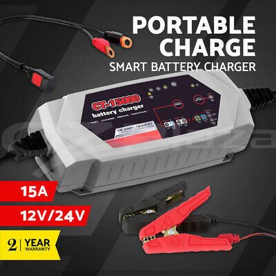 Smart Battery Charger 15A 12V 24V Automatic SLA AGM Car Truck Boat Motorcycle