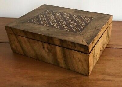 Antique 19Th C Marquetry Inlaid Geometric Design Wooden Writing Deeds Box
