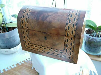 Antique Victorian Walnut Tunbridge Ware Domed Top Tea Caddy.
