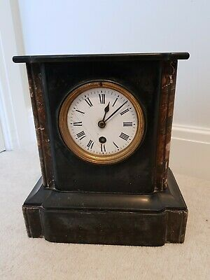 Antique Marble Slate Mantel Mantle Clock French
