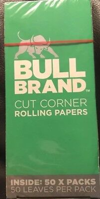 Bull Brand Green Cut Corner Cigarette Rolling Papers 50X Booklets 2500 Papers