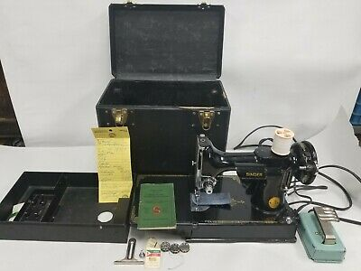 Vintage 1948 Singer Featherweight 221 Sewing Machine Case Works Serviced
