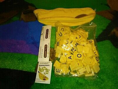 Bananagrams Word Game 144 Letter Tiles and Banana Carry Bag  Fast Shipping New