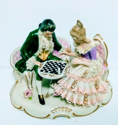 Antique Dresden Porcelain Lace Figurine Couple Playing Chess VTG German Made