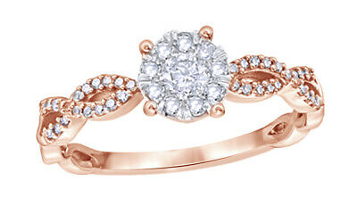 3/8 Ct Round Cut Real Diamond Frame Twist Shank Engagement Ring In 10K Rose Gold