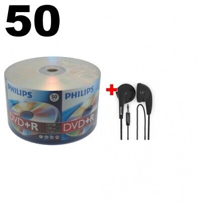 50 Philips 16X DVD+R 4.7GB (Philips Logo on Top) & FREE Maxell Earbud