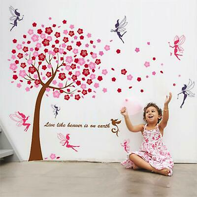 Walplus Grand arbre WS6038 Rose + WS5020 Lot de 2 stickers muraux Fées