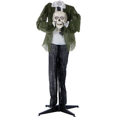Haunted Hill Farm HHMAN-2FLS Life-Size Animated Headless Man Prop Holding Talkin