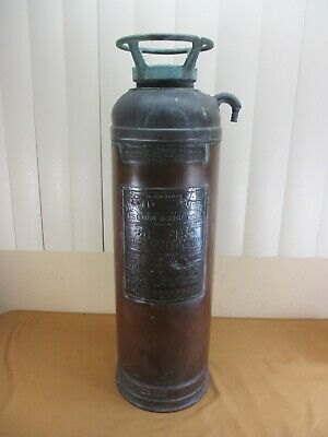 Antique Vintage RED STAR 303 Copper & Brass Fire Extinguisher Detroit  EMPTY