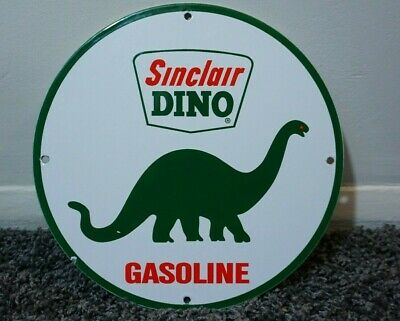 Vintage Sinclair Dino Porcelain Sign Gasoline Oil Metal Station Pump Plate