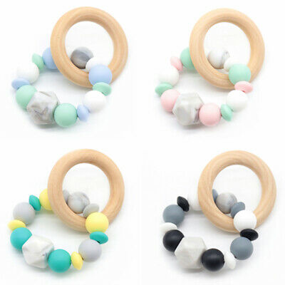 Baby Teether Bracelets Wooden Teething Ring Silicone Beads Stroller Rattle Toys