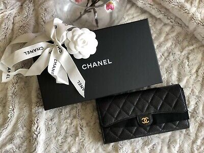 Chanel Quilted Caviar Flap Wallet Black Gold Hardware