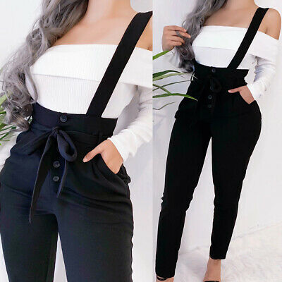Womens Casual High Waist Bib Overall Denim Dungaree Overall Jeans Jumpsuit Pants