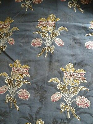 Other French antique Pair Of Jacquard Hangings Nineteenth Linen And Silk Tulips