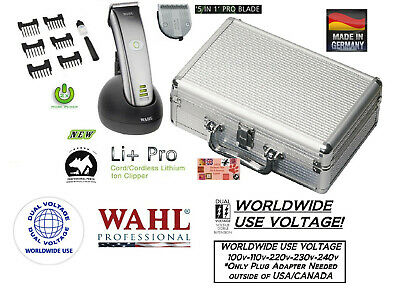 Wahl Professional Li+ Ion Pro CORDLESS PET CLIPPER KIT-5 in 1 BLADE CASE 6 Combs