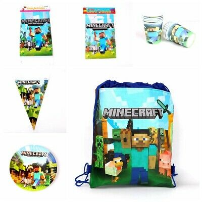 Minecraft Theme Birthday Party Tableware Set Draw pocket Cups Tablecloth Flags