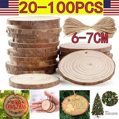 DIY Natural Wood Slices Round Log Discs With 33 Feet Christmas Tree Ornament LOT