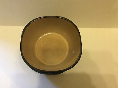 Gibson Square Cereal Soup Bowls Taupe - Black Set of 4 NOS 6 1/4""