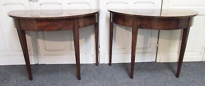 Pair Half Moon Georgian Mahogany Side Tables, Demi Lune, Console, Hall, Dining