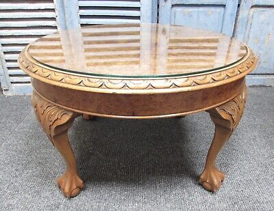 Burr Walnut Round Coffee Table, Queen Anne, Circa 1920, Fully Re Finished