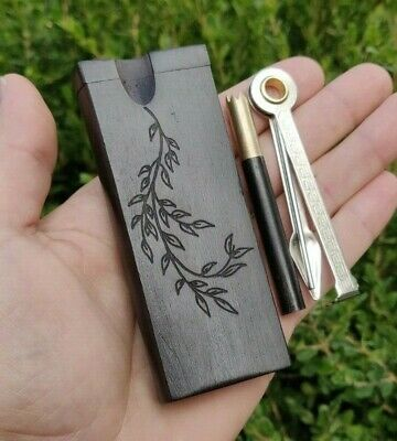 Ebony Wood Dugout Stash Box w/ Brass One Hitter Bat W/ Black Wooden Cover